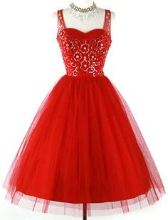 The flowers>> 1950 deep red tulle sequins prom party dress ca. Vintage Prom, Retro Vintage Dresses, Retro Dress, Vintage Outfits, Vintage Fashion, Vintage Clothing, 1950s Dresses, Midi Dresses, 50 Fashion