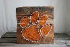 "String Art 24""x 24"" Clemson Tigers Orange and White Logo on Reclaimed Wood"