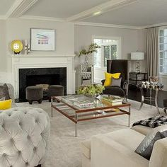 Yellow and Gray Living Room with Light Gray Velvet Tufted Curved Sofa