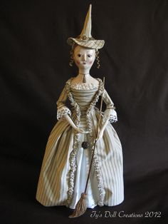 Antique Inspired Queen Anne Witch Halloween Folk Art Doll by Tyra Swick of Ty's Doll Creations.