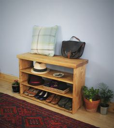 Large wooden shoe bench, shoe rack, mud room seat, wide hall shelves in natural light wood cm, rustic simplicity in Somerset UK Door Furniture, Furniture Making, Bedroom Furniture, Furniture Ideas, Wooden Bedroom, Wooden Furniture, Shoe Tidy, Somerset, Shoe Bench