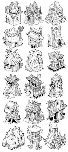 More from my sketchbooks today, folks, here we have 52 ways to draw a home, hovel or abode for an ADVENTURER!  Thousands more pics like this...
