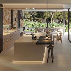 A cozinha que vai fazer sucesso, na sua casa! Kitchen Sets, New Kitchen, Kitchen Dining, Kitchen Decor, Home Design, Modern House Design, Interior Desing, Contemporary Kitchen Design, Happy House