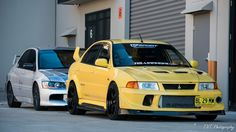 Evo 9 in the back and the legendary evo 6 Tommi makinen in the front