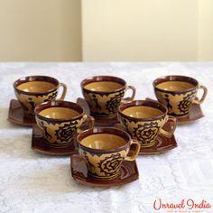 23e290d4c3a Unravel India Ceramic Warli Brown Cup Saucer (Set of 6)  Teacups  Online