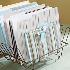 From Dishes to Papers  With dishwashers now often a kitchen staple, wire drainers are a bit out of favor. Give one new life as an office storage solution to store file folders. This old item adds character, charm, and utility, making it the perfect display -- and organization -- piece for your home office.