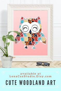 The blush pink wall art features a pop art owl. The art print cartoon is ideal for woodland nursery prints or owl gifts. The print comes in two sizes 8x10 and 16x20.  #wallart #owl #woodlandart #nursery