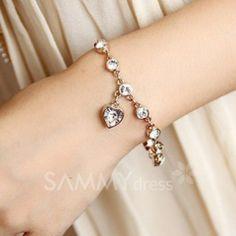 Women's Rhinestone Heart Bracelet