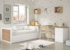Small Room Design, Home Room Design, Kids Room Design, Girl Bedroom Designs, Room Ideas Bedroom, Bedroom Decor, Spare Bedroom Office, Kids Room Furniture, Aesthetic Room Decor