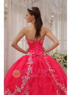Inexpensive Coral Red Quinceanera Dress Sweetheart Taffeta and Organza Appliques Ball Gown- $189.67