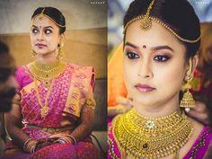 South Indian bride. Hindu bride. Silk pink kanchipuram sari. Temple jewelry.