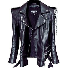 BALMAIN black leather biker jacket with shoulder pads and chain details <3 OH MY GOD