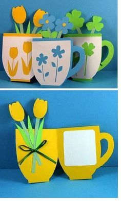 handmade card - Good idea for Mother's Day cards Easter Crafts, Kids Crafts, Craft Projects, Mother's Day Projects, Project Ideas, Spring Crafts, Holiday Crafts, Craft Activities, Homemade Cards