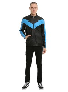 Sky Blue Nightwing Jacket For Cosplay - Leather N Jackets Nightwing Costumes, Nightwing Cosplay, Dc Cosplay, Cosplay Costumes, Batman Sidekicks, Phoenix Costume, Justice League Aquaman, Hawkgirl, Black Tie Dye