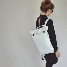 12752add34a8 17  Leather Backpack  Leather Rucksack  Messenger  Laptop MacBook  Unisex   White   Minimalist  Rugzak  Back to school  Office bag