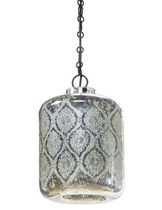 Regina-Andrew's Jaipur pendant wears an Antique Mercury finish and floral pattern, measuring 16 inches tall and 9¾ inches in diameter. www.reginaandrew.com