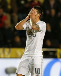 James Rodriguez of Real Madrid reacts during the La Liga match between Villarreal CF and Real Madrid CF at El Madrigal on December 13 2015 in...