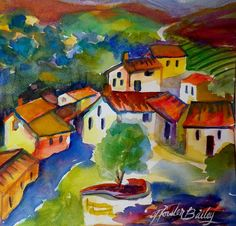Villas In The Chianti Region Sold Original Painting by Therese Fowler-Bailey