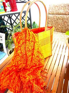 straw vintage beach bag tote, purse with colorful flowing summer scarf, now avail for sale http://bonnierose.etsy.com