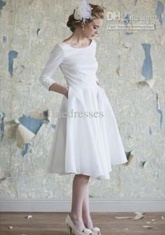Wholesale A-Line Wedding Dresses - Buy Simple Scoop 3/4 Long Sleeve White Chiffon Aline Wedding Dresses Knee Lenght Beach Dresses Summer 2013 So Cheap, $88.0 | DHgate