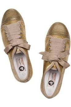 #Lanvin Metallic cracked-leather sneakers £272.34