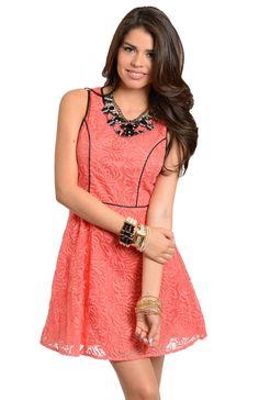 Rosette Lace Contrast Trim Dress