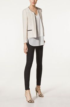 5dd6db3f1fe1 Massimo Dutti, perfect for day and nighttime! Cream Jacket Outfit, Beige  Blazer Outfit