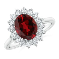Claw-Set Natural Garnet Infinity Pendant with Diamonds 8mm Garnet
