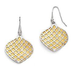 Italian Sterling Gold-plated Polished Scratch-Finish Earrings, Women's