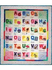ABC's Baby Quilt Pattern from AnniesCatalog.com -- Each letter is accompanied by a character and word. Templates are included for the letters and characters, plus instructions for the letters with 2 options for block instructions—pieced or painted.
