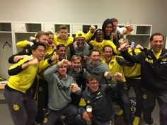The Borussia Dortmund players and staff celebrating their victory against FC Bayern München in the semi-final of the DFB-Pokal.