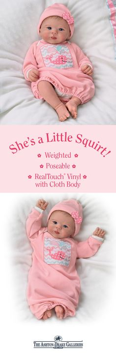 """This So Truly Real(R) sweetie by Master Doll Artist Sherry Rawn is sure to get """"oohs"""" and """"aahs"""" wherever she goes, dressed in a soft pink sleeper with a precious whale on the front. Handcrafted of RealTouch vinyl with a cloth body, she's fully poseable and weighted to feel incredibly lifelike when you hold her close. Shop Now!"""