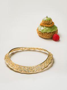 Aurélie Bidermann Lace necklace in 18K yellow gold with 5.85K diamonds. http://aureliebidermann.com/en/jewelry/623-collier-en-or-jaune-diamants.html#/material-18_carats_gold