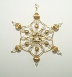 Snowflake Ornament - Gold and Clear Limited Edition - Christmas Ornament - Beaded Ornament - Holiday Decoration - Winter Suncatcher