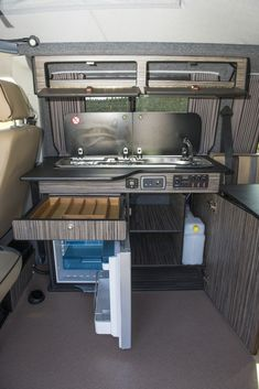 Kitchen area of rear lounge conversion, I'd put the water under the seat, fit a microwave under sink Campervan Conversions Layout, Vw Conversions, Camper Van Conversion Diy, Kombi Motorhome, Motorhome Interior, Campervan Interior, Campervan Ideas, Build A Camper Van, Camper Van Life