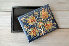 Vintage navy blue floral hand painted box / by WhiteDogVintage