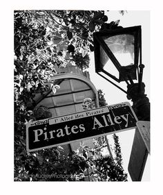 Pirate's Alley New Orleans Photography, 8x10, Street sign, Gift for Him, Mardi Gras, French Quarter, black and white, man cave decor