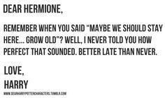 Dear Hermione, // Love, Harry // #harrypotter