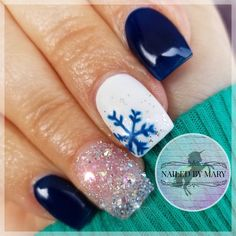 Midnight in Paris Kiara Sky gel winter snowflake Swarovski crystals pixies short cute deep blue nail art Christmas holiday