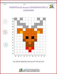 Christmas Worksheets block coordinates Rudolf