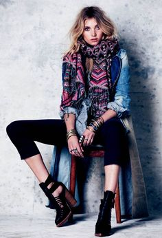 Jean jacket with black dress pants - a colourful scarf ties it together nicely - Free People Feb 2013 Lookbook