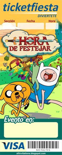 Invitación ticketfiesta de Hora de aventuras Adventure Time Birthday, Adventure Time Parties, Ticket Invitation, Invitations, Ideas Para Fiestas, Fiesta Party, Monsters Inc, Candy Party, Marceline