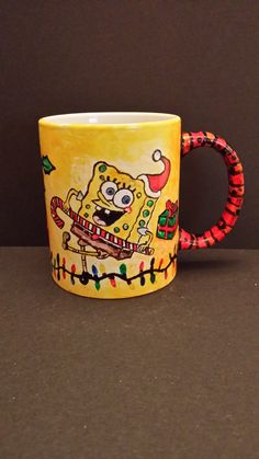 Hand painted Spongebob Christmas Cup, Front View by Kimberley Holland