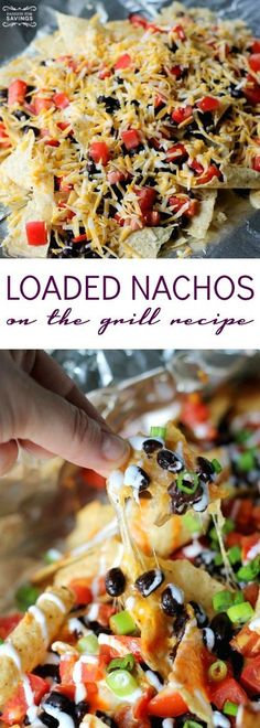 Loaded Nachos on the Grill Recipe! Easy Grill Pack Recipe for barbecues and cook… Loaded nachos on the grill recipe! Easy Grill Pack Recipe for Barbecues and Cooking! Fries, chicken and cheese for a simple dinner! Summer Grilling Recipes, Barbecue Recipes, Easy Dinner Recipes, Appetizer Recipes, Easy Meals, Appetizers, Skewer Recipes, Easy Grill Recipes, Recipes For The Grill