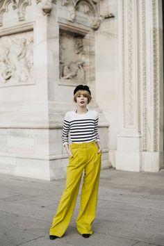 Mode Marinière, Look Rétro, Rétro Chic, Rayures, Pantalon Fluide, Jaune Noir fed5c53b327