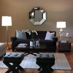 Living Rooms   Sherwin Williams Balanced Beige, Chocolate Brown Sofa, Gray  X Base