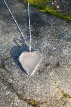 Handmade White Cornish Sea Glass Heart by KaysCornishCreations