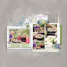 Korean BBQ digital scrapbooking page by Amy L at DesignerDigitals.com