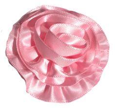 """Light pink 2"""" satin ruffle rolled rosette flower"""