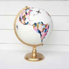 Custom Painted Guestbook Globe for Joanne